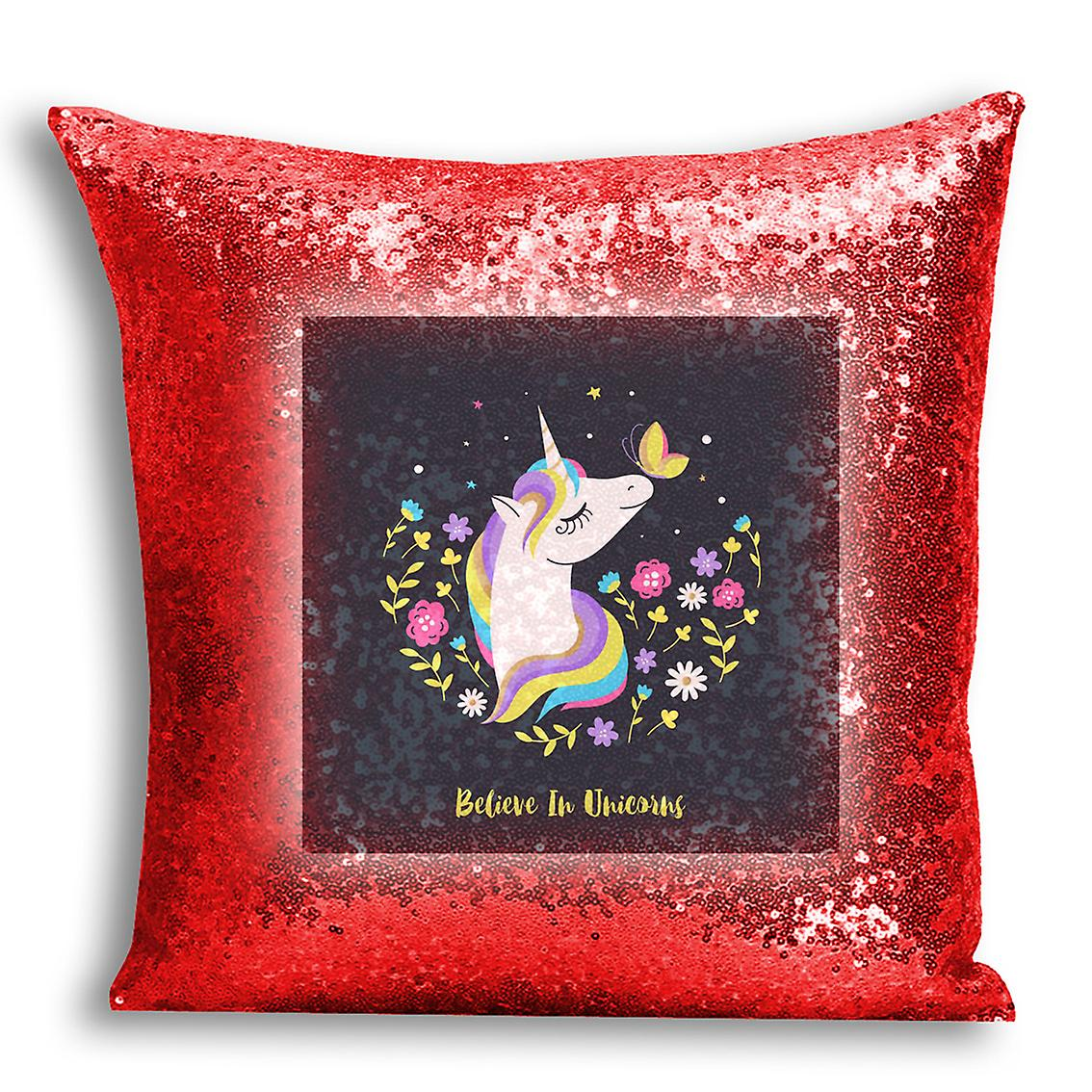 tronixsUnicorn Decor Printed For 14 Sequin Inserted With I CushionPillow Design Home Red Cover f7gbmIYyv6