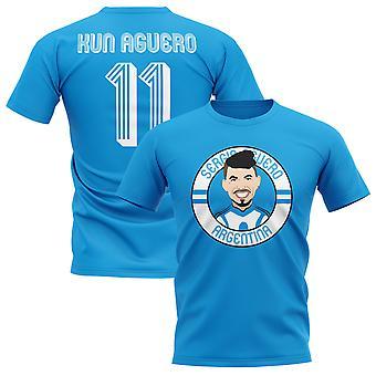 Sergio Agüero Argentinien Illustration T-Shirt (Sky)