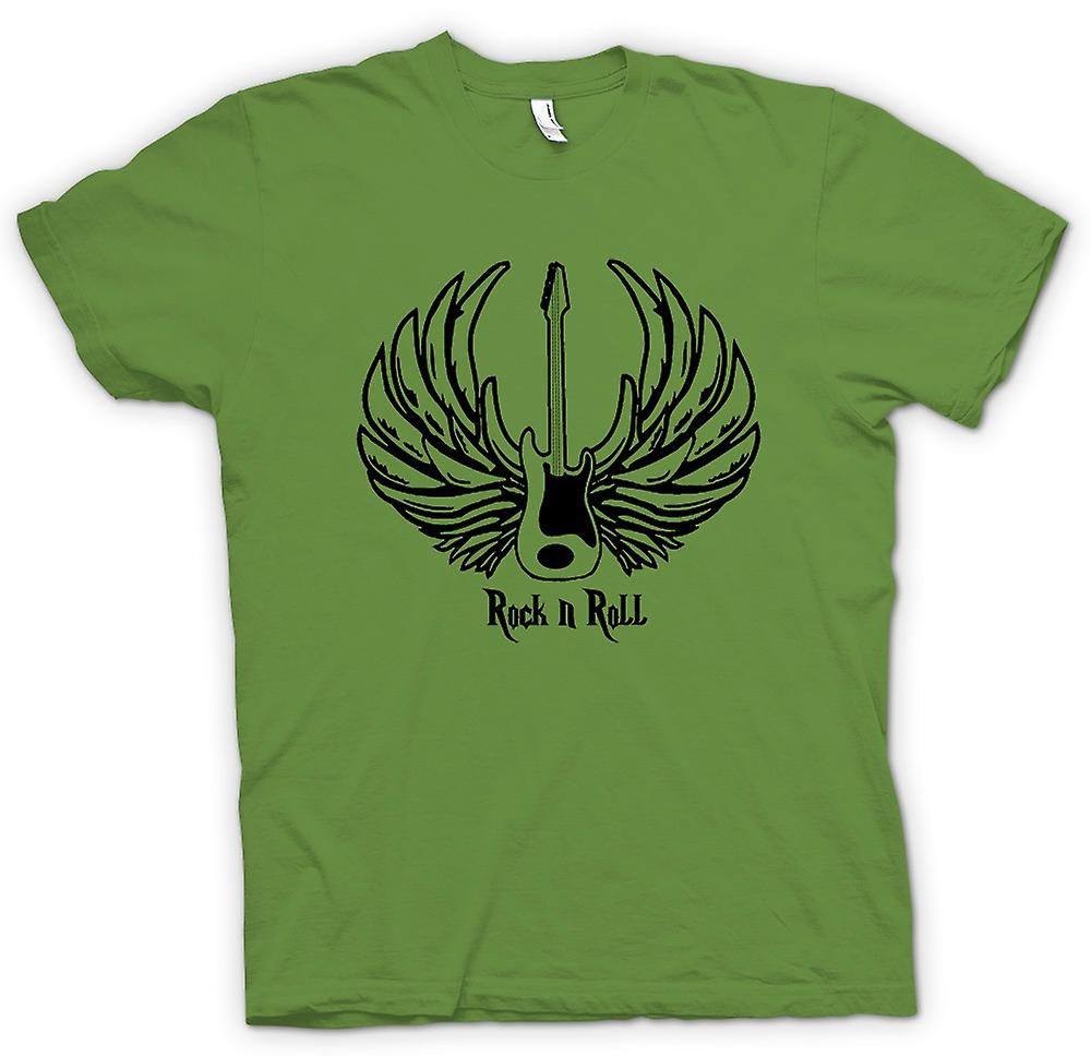 Mens T-shirt - Rock n Roll - Guitar Wings - Music