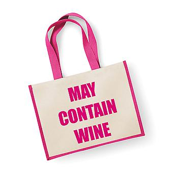 Large Pink Jute Bag May Contain Wine
