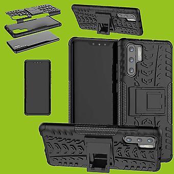 Für Huawei P30 Pro Hybrid Case 2teilig Outdoor Schwarz Tasche Hülle Cover Schutz