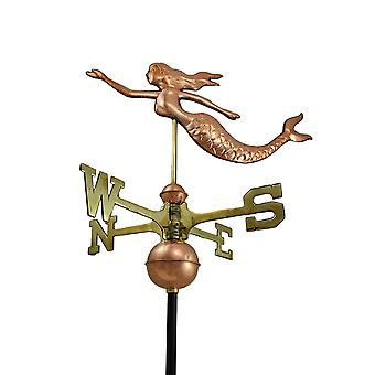 Polished Copper Decorative Swimming Mermaid Weather Vane