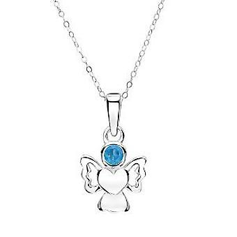 Jo For Girls Sterling Silver December Simulated Birthstone Angel Pendant 14