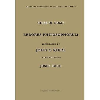 Giles of Rome: Errores Philosophorum