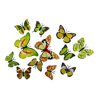 12pcs Yellow Decorative 3D Butterflies in paper for Walls