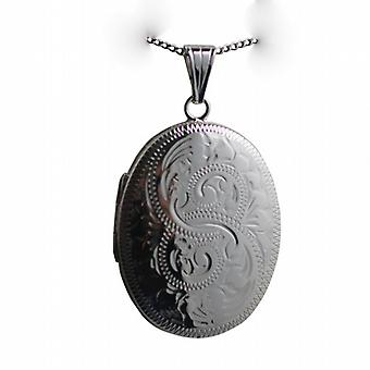 Silver 35x26mm oval hand engraved Locket with a curb Chain 24 inches