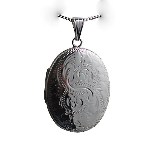 Silver 35x26mm oval hand engraved Locket with a curb Chain 18 inches