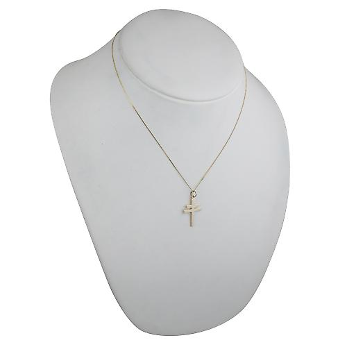 9ct Gold 25x17mm Cross of Lorraine with a curb Chain 18 inches