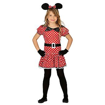 Girls Cute Red Mouse Fancy Dress Costume