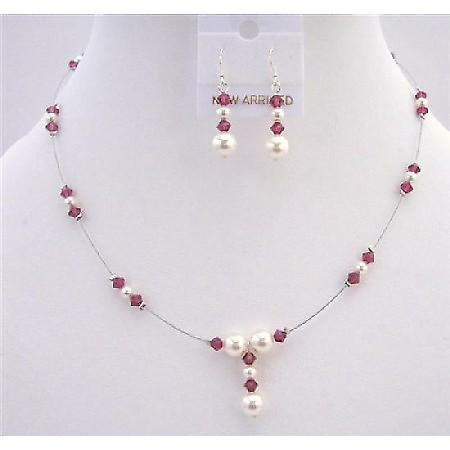Swarovski White Pearls AB Ruby Swarovski Crystals Handcrafted Jewelry