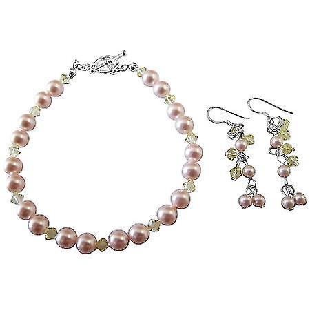 Handmade Jewelry Wedding Bridal Pink & Jonquil Bracelet & Earrings Set