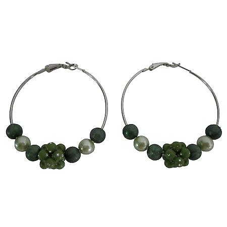 Fashionable Fabulous Hoop Earrings Dark Green Beads Hoop Earrings