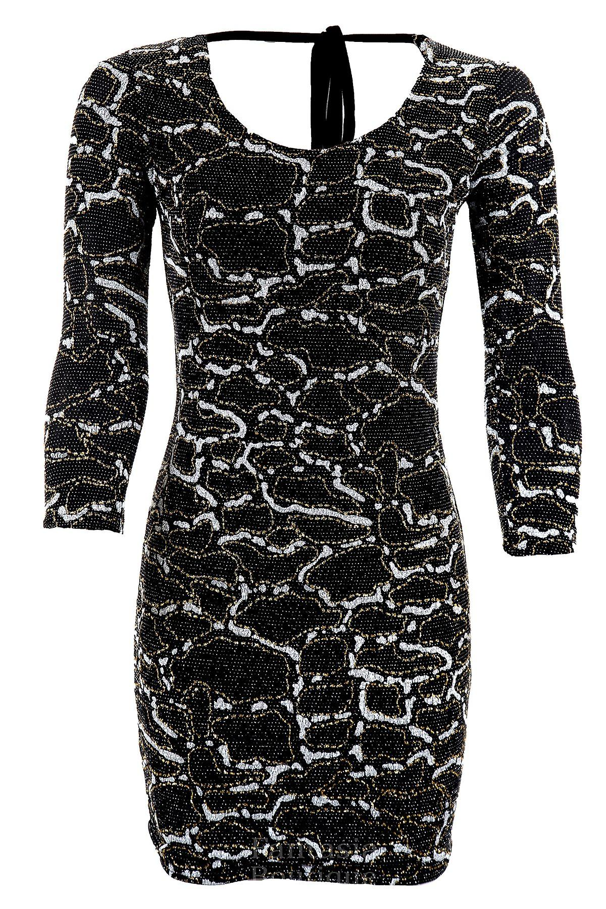 Ladies 3/4 Sleeve Glitter Gathered Tie Low Back Snake Print Womens Bodycon Dress