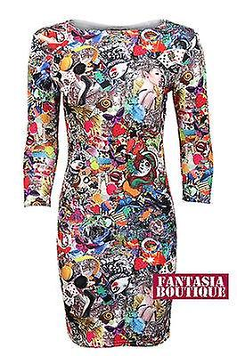New Ladies Funky Print Party Crazy Bodycon 3 Quarter Sleeves Womens Dress