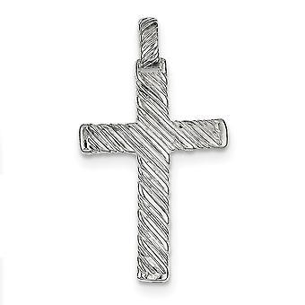 Prata esterlina sólida polido texturizado costas não engraveable Cruz charme - 2,7 gramas