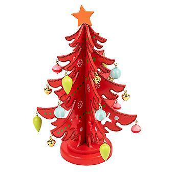 TRIXES trä julgran prydnad dekoration färg röd