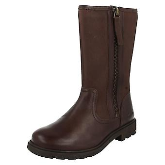 Girls Clarks Boots Ines Rain Brown Size 7.5 F