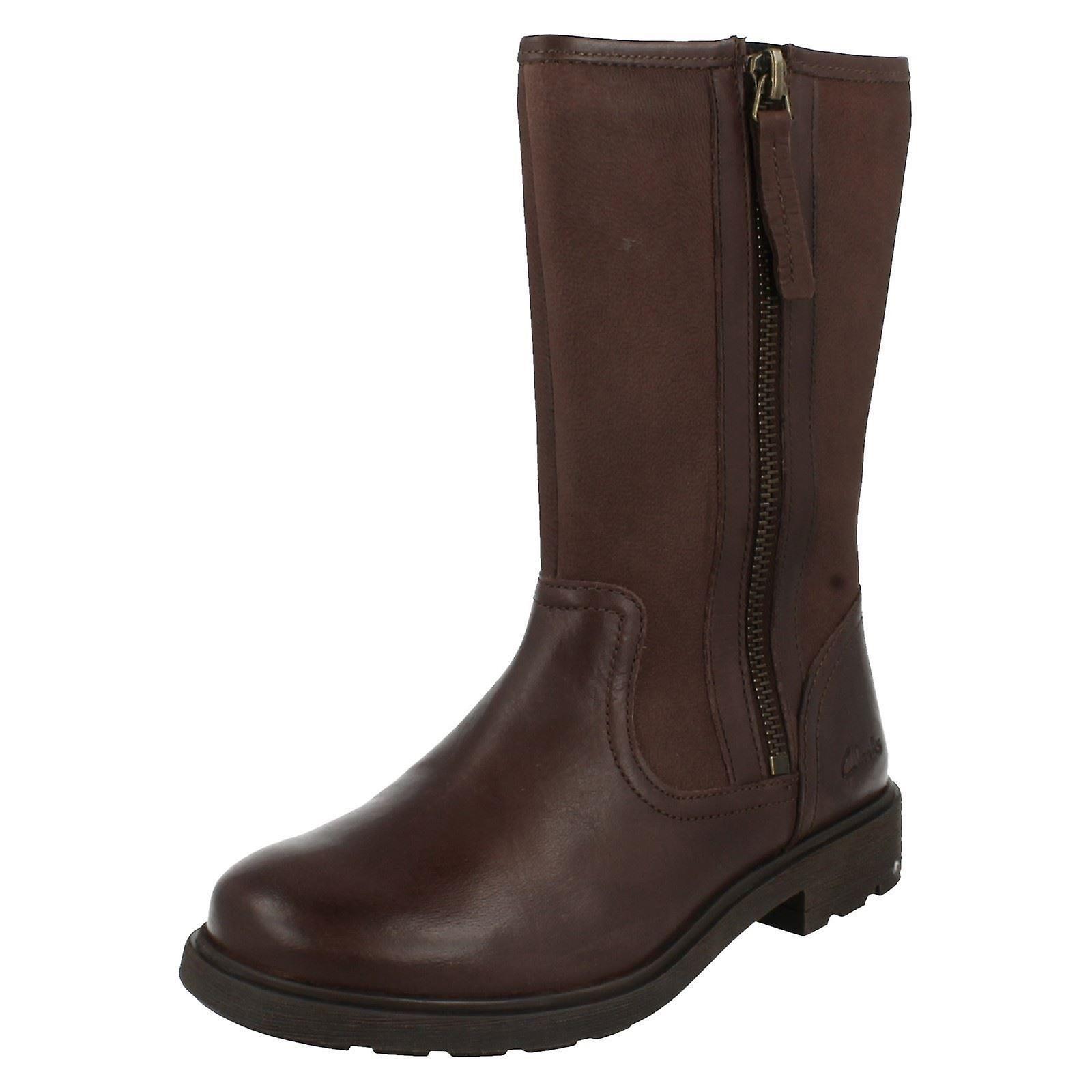 Girls Clarks bottes Ines Rain marron Taille 7.5 F