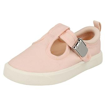 Childrens Boys Girls Clarks T-Bar Canvas Shoes City Spark