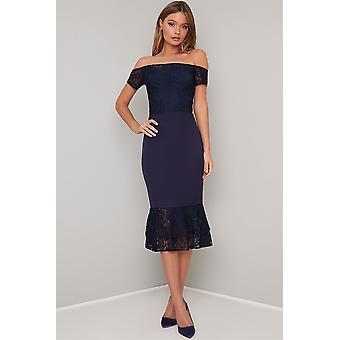 Bardot Navy spets klänning