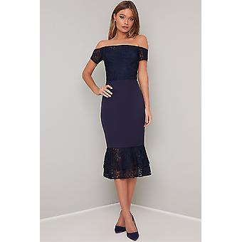Bardot Navy Lace Dress
