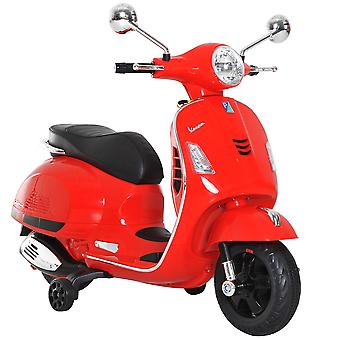 HOMCOM 6V Kids Ride On Licensed Vespa Motorcycle Boys Girls MP3 Music LED Lights Toy Red