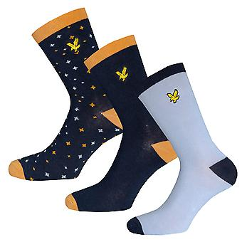 Boys Lyle And Scott Marl Mix 3 Pair Socks In Blue- 2 Pairs Plain Design, 1 Pair