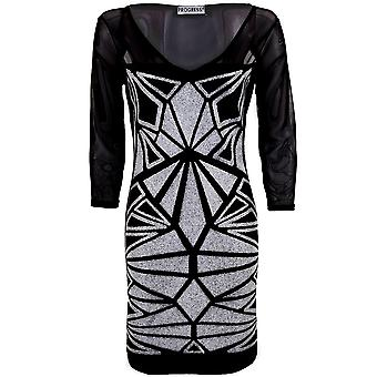 Damen-v-Ausschnitt 3/4 Mesh Sleeve White Silver Beaded Muster Damen Bodycon Kleid