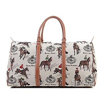Horse racing big luggage holdall by signare tapestry / bhold-rac