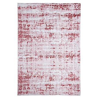 Modern carpet weaving carpet short flor indoor abstract bright-gray red 120 x 180 cm stain protection cotton mixture