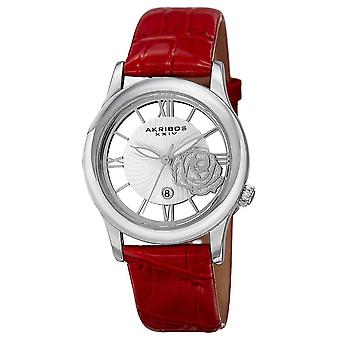 Akribos XXIV Women's Floral Japanese Quartz Leather Strap Watch AK837RD