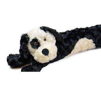 Black Dog Fluffy Faux Fur Novelty Draught Excluder