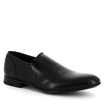 Leonardo Shoes Men's handmade laceless elegant shoes in black goat leather