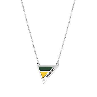 University of Vermont-Catamounts indgraveret diamant halskæde geometrisk i grøn og gul