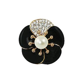 Eternal Collection Camellia Pearl And Crystal Jet Black Enamel Scarf Clip