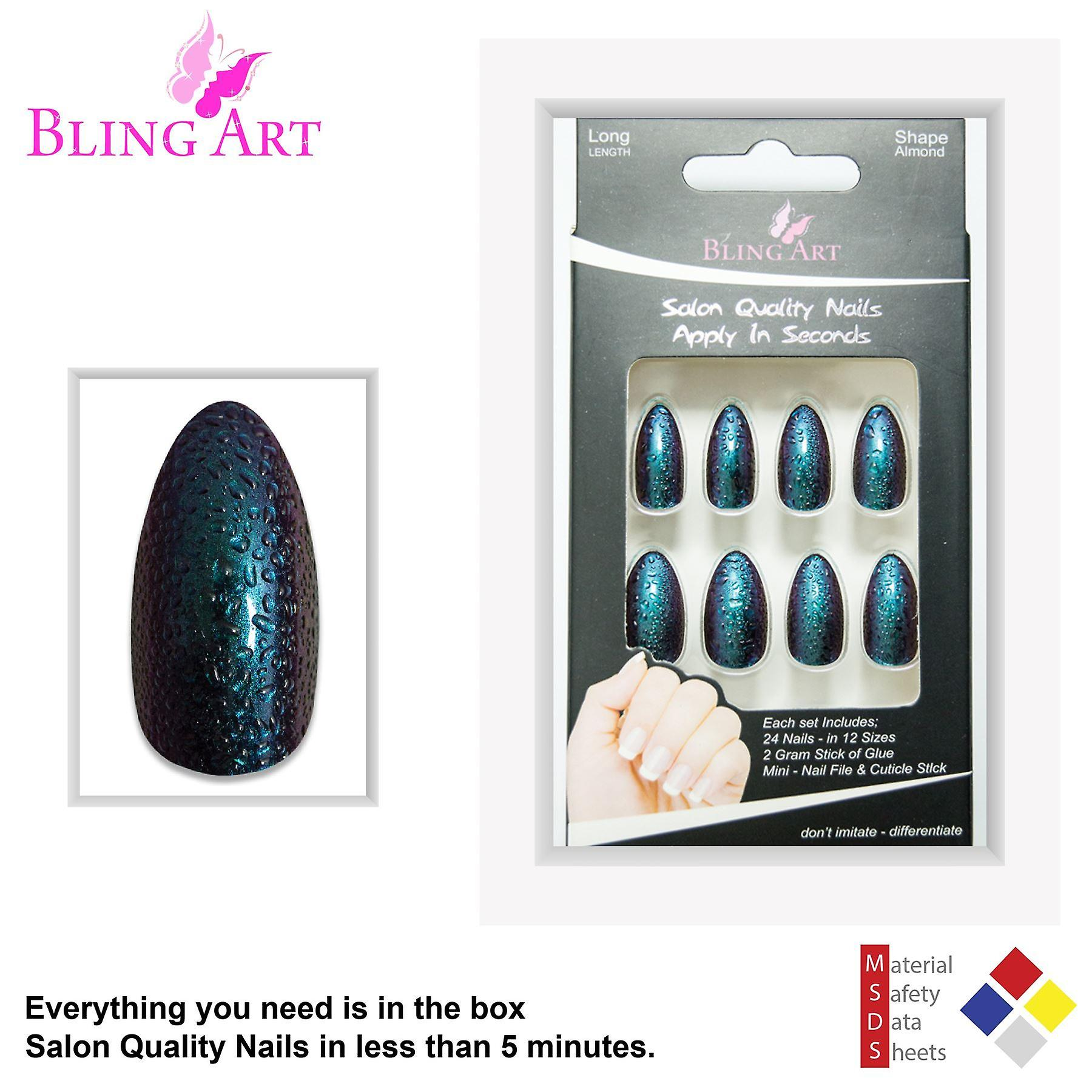 False nails by bling art green purple water almond stiletto acrylic fake tips