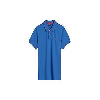 Gant Contrast Collar Polo Shirt Royal Blue