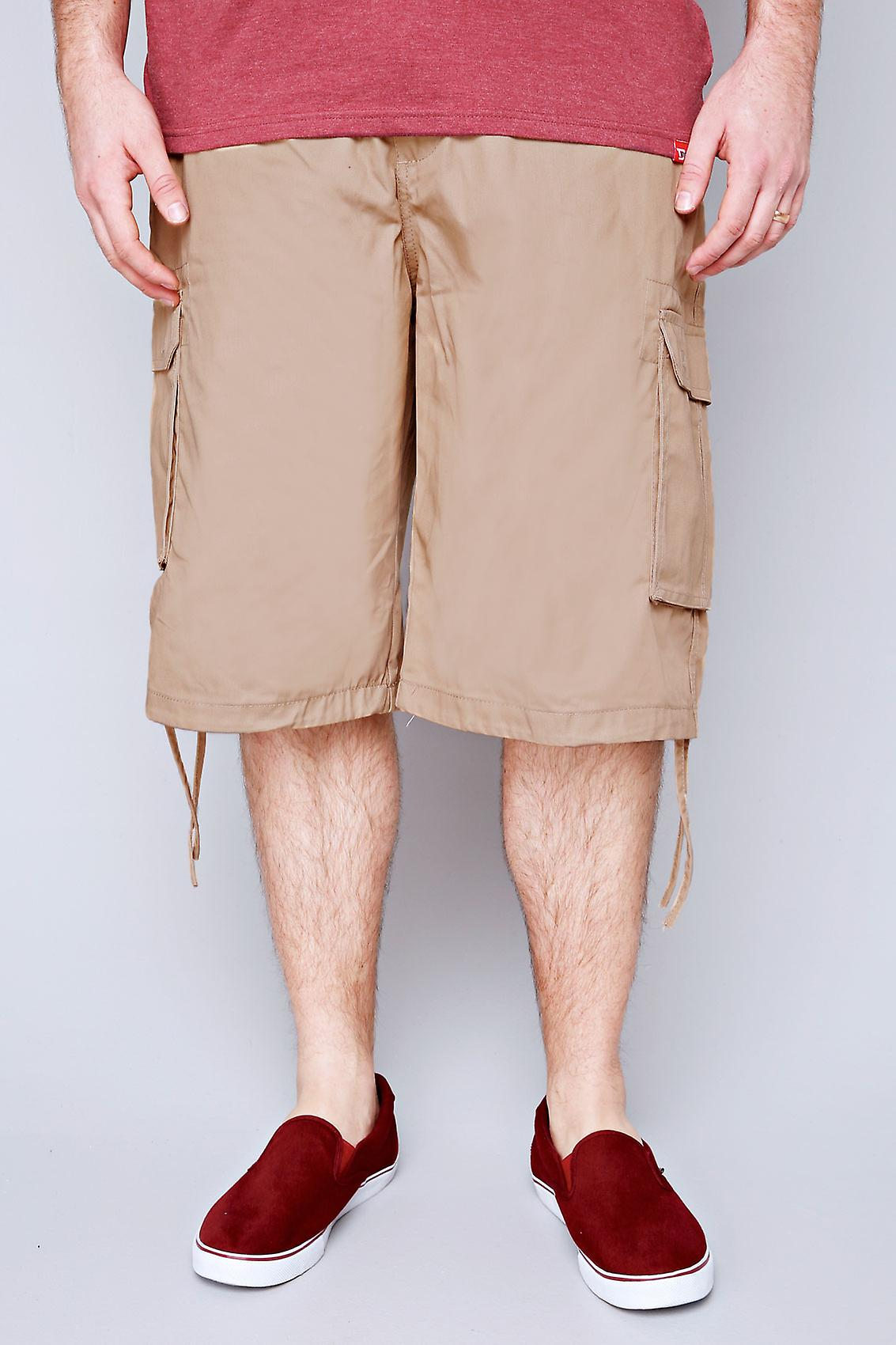 NOIZ Light Brown Cotton Cargo Shorts With Pockets