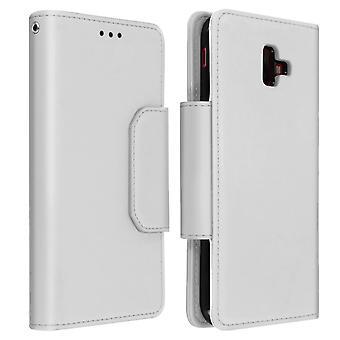Magnetic Detachable Wallet Folio Case for Samsung Galaxy J6 Plus - Silver