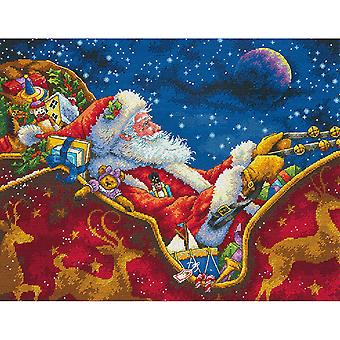 Gold Collection Santa's Midnight Ride Counted Cross Stitch K-14