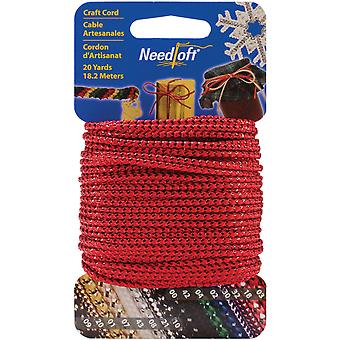 Needloft Novelty Craft Cord 20 Yards Metallic Red 550 55003