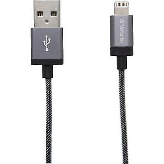 iPad/iPhone/iPod Data cable/Charger lead [1x USB 2.0 connector A - 1x Apple Dock lightning plug] 0.30 m Grey Verbatim