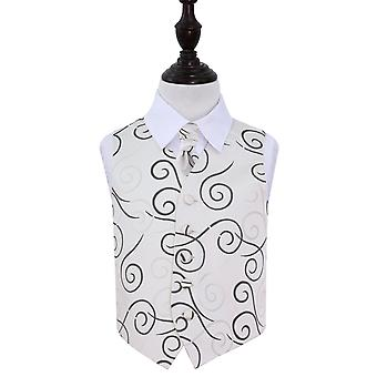Boy's Black Scroll Wedding Waistcoat & Cravat Set