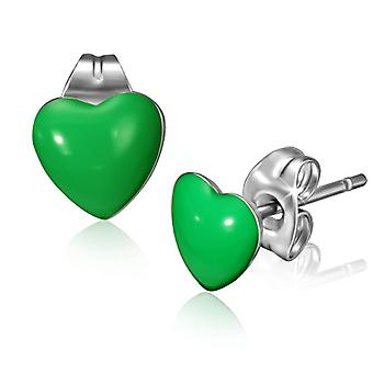 Urban Male Stainless Steel & 7mm Green Resin Heart Stud Earrings