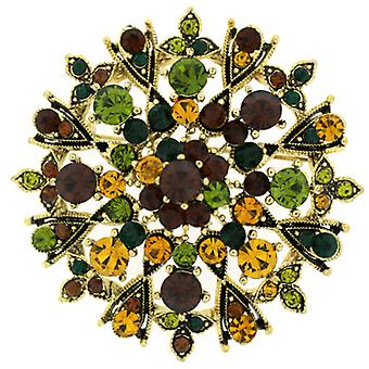 Brooches Store Large Gold and Multi Autumn Crystal Starburst Flower Brooch