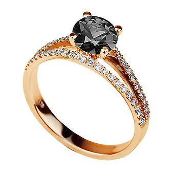 14 K Rose Gold 1,36 CTW Black Diamond Ring mit Diamanten Split Schaft Vintage