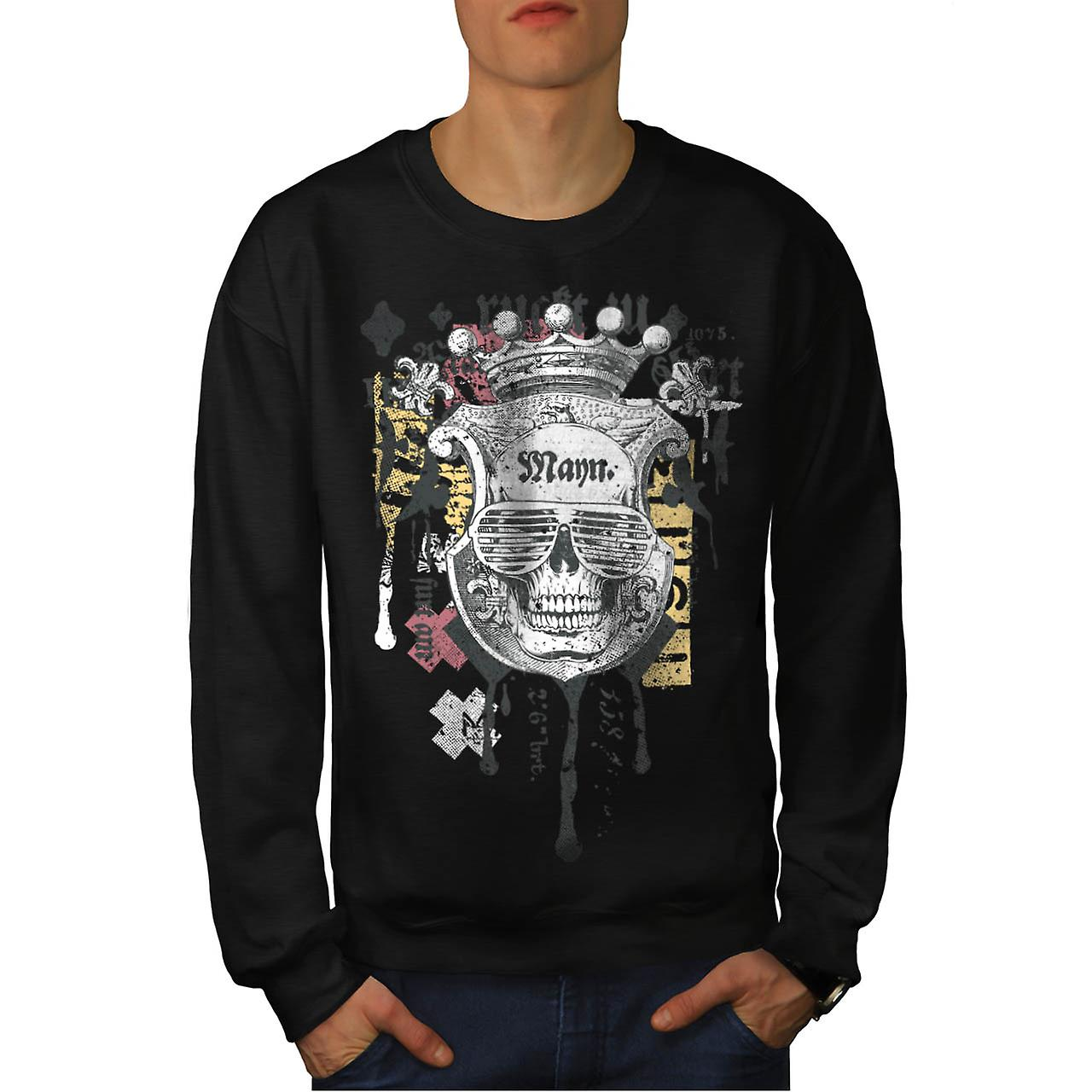 King Fashion Art Skull Men Black Sweatshirt | Wellcoda