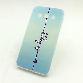 Cell phone case for Samsung Galaxy A3 cover case protective bag motif slim silicone TPU lettering be happy blue