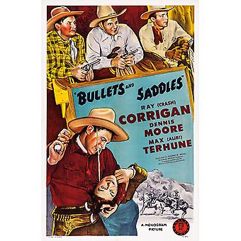 Bullets And Saddles Top L-R Max Terhune Ray Crash Corrigan Dennis Moore Bottom Ray Crash Corrigan On Poster Art 1943 Movie Poster Masterprint