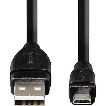 USB 2.0 Cable [1x USB 2.0 connector A - 1x USB 2.0 connector Micro B] 0.25 m Black gold plated connectors Hama